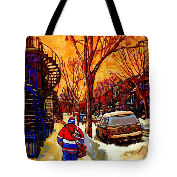 After The Hockey Game A Winter Walk At Sundown Montreal City Scene Painting  By Carole Spandau Tote Bag by Carole Spandau