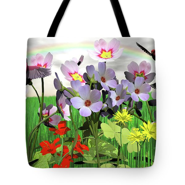 After The Rain Comes The Rainbow Tote Bag by Michele Wilson
