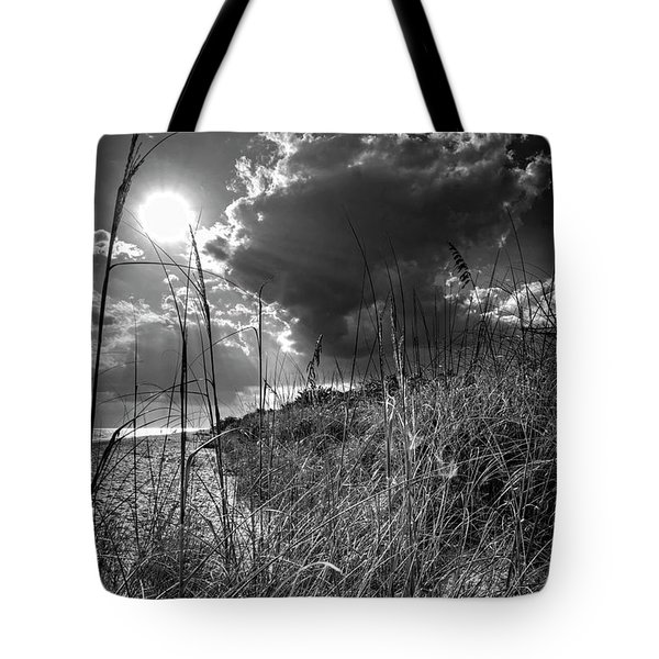 Afternoon At A Sanibel Dune In Blank And White Tote Bag by Chrystal Mimbs