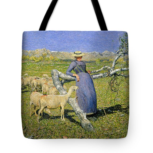 Afternoon In The Alps Tote Bag by Giovanni Segantini