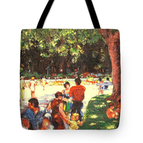 Tote Bag featuring the painting Afternoon In The Park by Walter Casaravilla