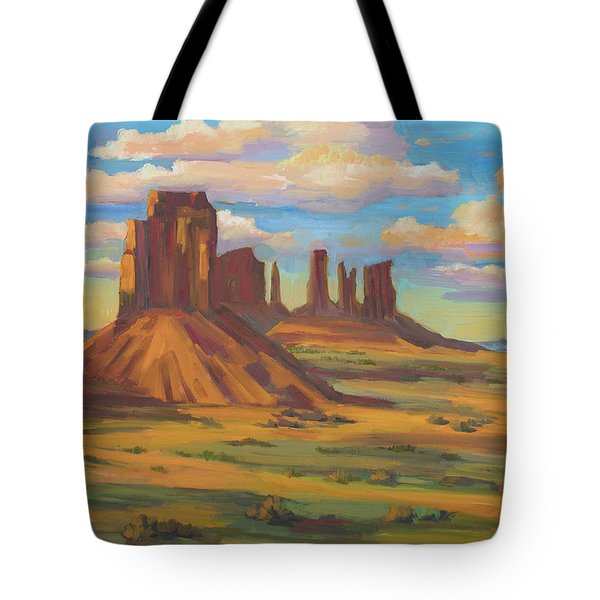 Tote Bag featuring the painting Afternoon Light Monument Valley by Diane McClary
