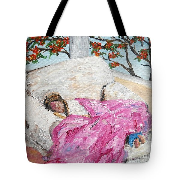 Tote Bag featuring the painting Afternoon Nap At Grandmas by Reina Resto