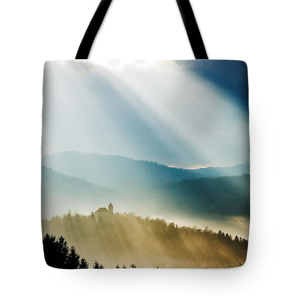 Afternoon Rays Over Church Tote Bag