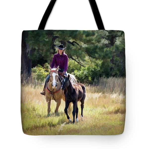 Afternoon Ride In The Sun - Cowgirl Riding Palomino Horse With Foal Tote Bag
