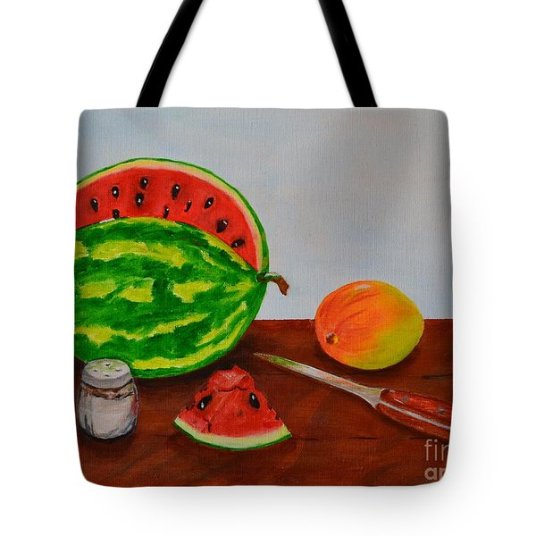 Tote Bag featuring the painting Afternoon Summer Treat by Melvin Turner
