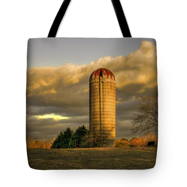 Afternoon Sunset Glow Rustic Silo Farm Art Tote Bag