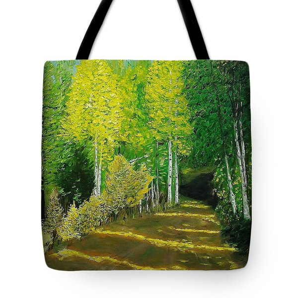 Afternoon Sunshine Through The Aspens Tote Bag