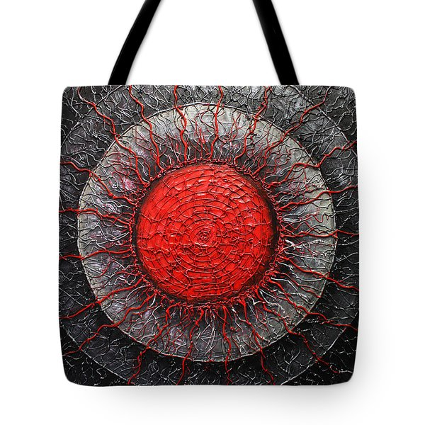 Red And Black Abstract Tote Bag by Patricia Lintner
