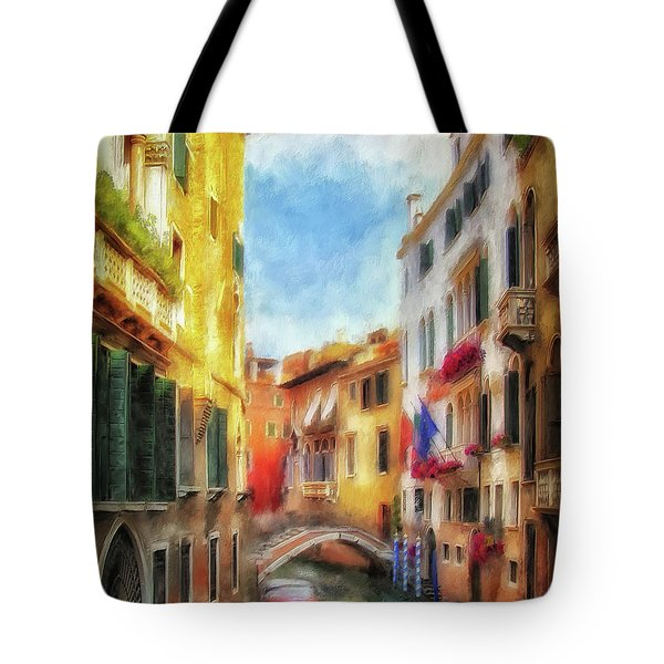 Tote Bag featuring the digital art Ahh Venezia Painterly by Lois Bryan