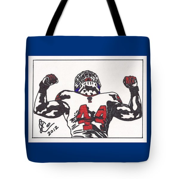Tote Bag featuring the drawing Ahmad Bradshaw by Jeremiah Colley