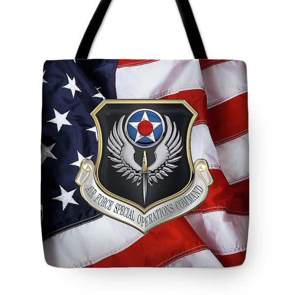 Air Force Special Operations Command -  A F S O C  Shield Over American Flag Tote Bag by Serge Averbukh