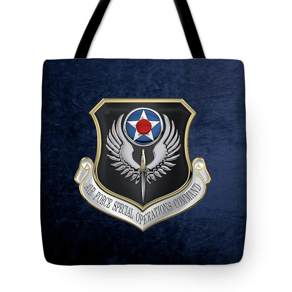 Air Force Special Operations Command -  A F S O C  Shield Over Blue Velvet Tote Bag by Serge Averbukh