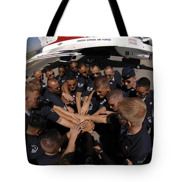 Air Force Thunderbird Maintainers Bring Tote Bag by Stocktrek Images