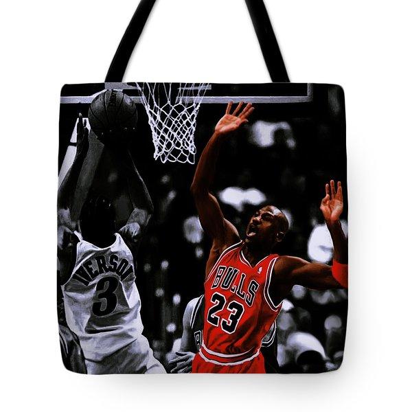 Air Jordan And Allen Iverson Tote Bag