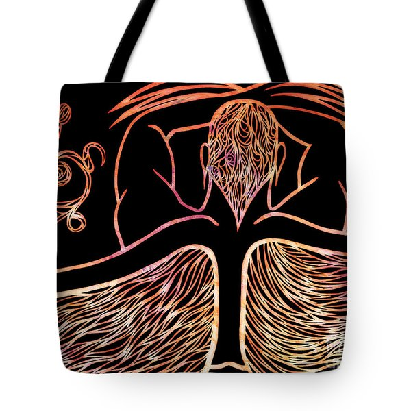Tote Bag featuring the drawing Fire Spirit by Jamie Lynn