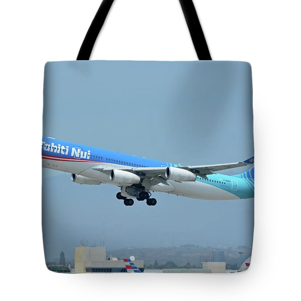 Air Tahiti Nui Airbus A340-313x F-osea Los Angeles International Airport May 3 2016 Tote Bag by Brian Lockett