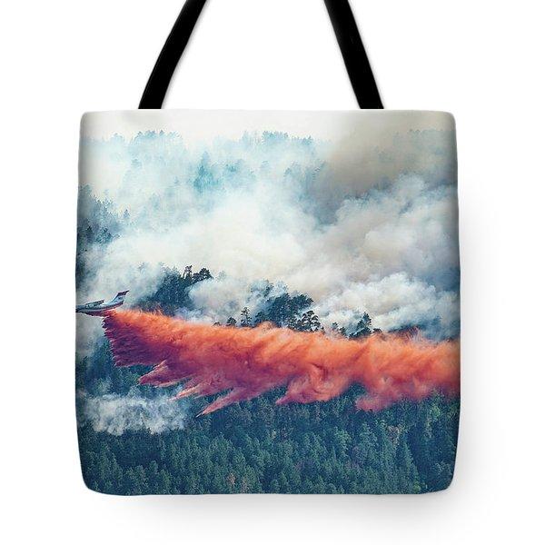 Air Tanker On Crow Peak Fire Tote Bag
