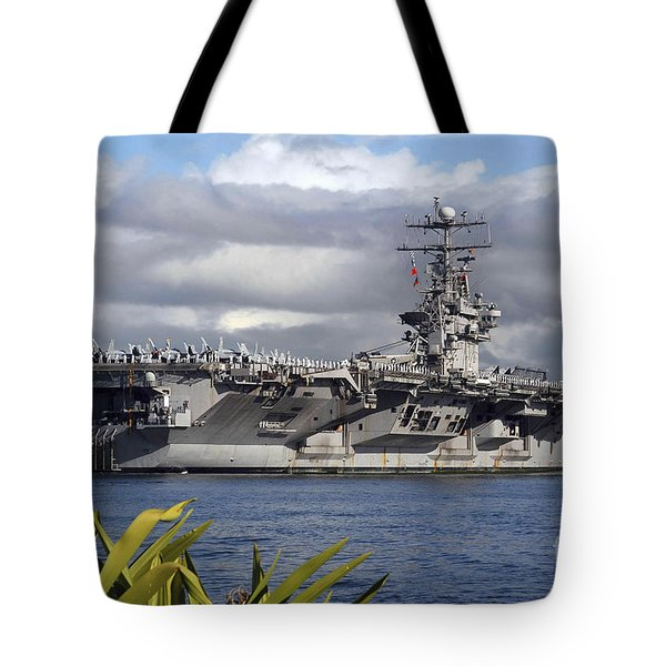 Aircraft Carrier Uss Abraham Lincoln Tote Bag by Stocktrek Images