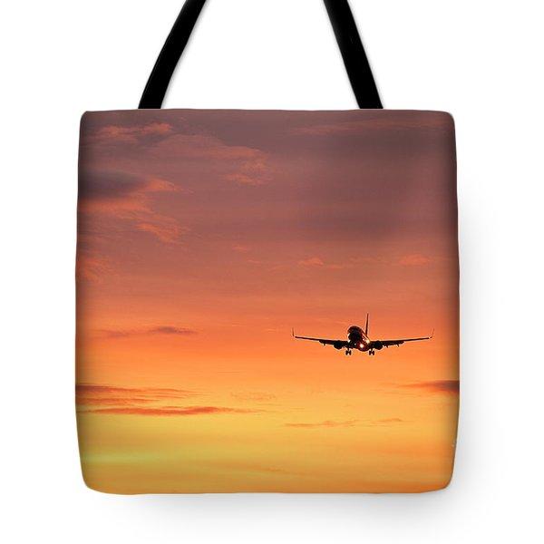 Airlpane In Flight Tote Bag by John Greim