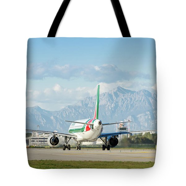 Airplane And Mountains Tote Bag