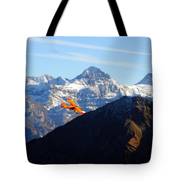Airplane In Front Of The Alps Tote Bag