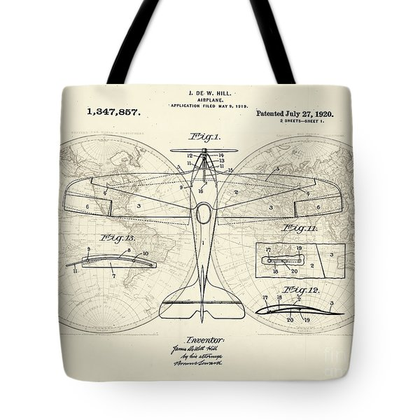 Airplane Patent Collage Tote Bag by Delphimages Photo Creations