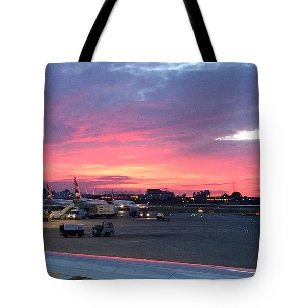 London City Airport Sunset Tote Bag by Patsy Jawo