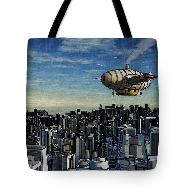 Airship Over Future City Tote Bag