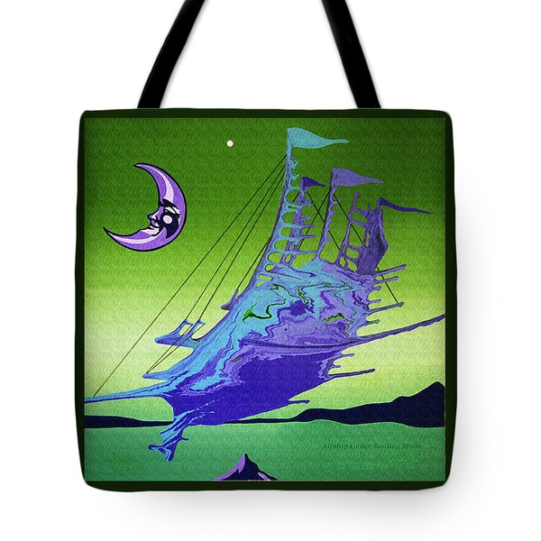 Airship Under A Smiling Moon  Tote Bag
