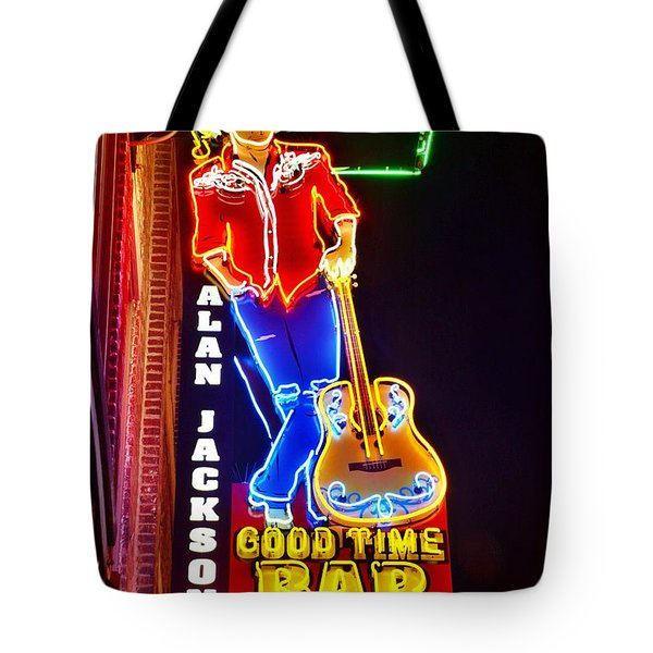 Tote Bag featuring the photograph Aj's Good Time Bar by Lisa Wooten