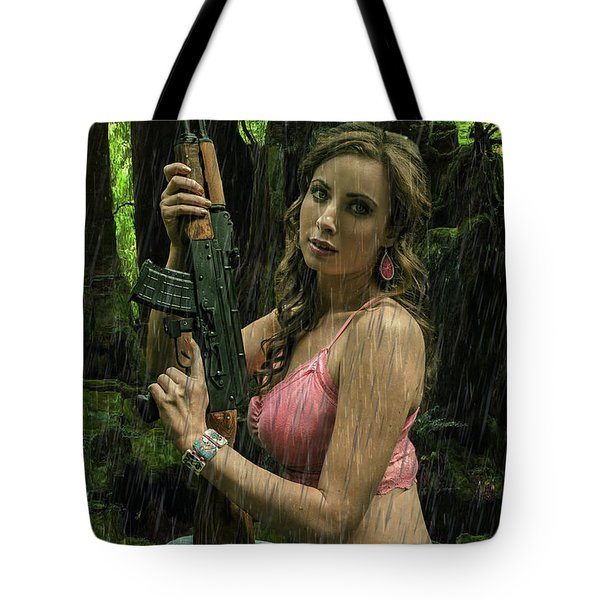 Ak47 In The Rain Tote Bag