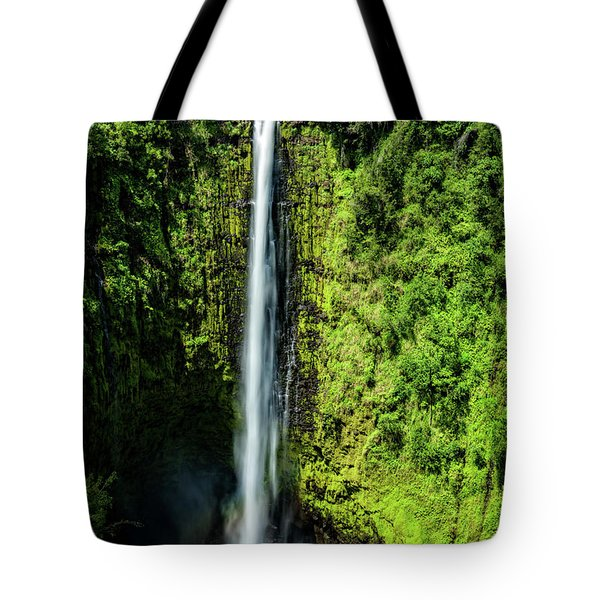 Tote Bag featuring the photograph Akaka Falls With Rainbow by John Hight