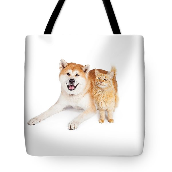 Akita Dog And Tabby Cat Over White Background Tote Bag