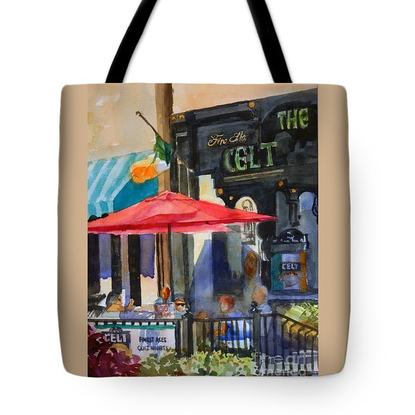 Al Fresco At The Celt Tote Bag by Ron Stephens