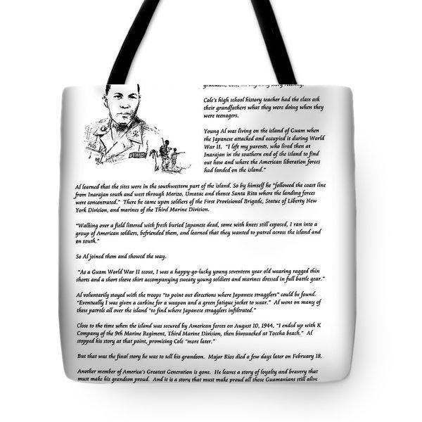 Al Rios Guam Ww II Story Tote Bag