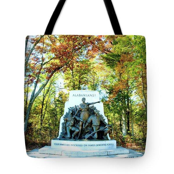 Alabama Monument At Gettysburg Tote Bag