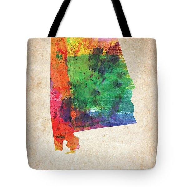 Alabama Watercolor Colorful Map Tote Bag