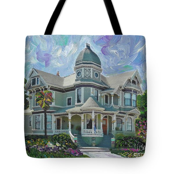Tote Bag featuring the painting Alameda 1893  Queen Anne  by Linda Weinstock