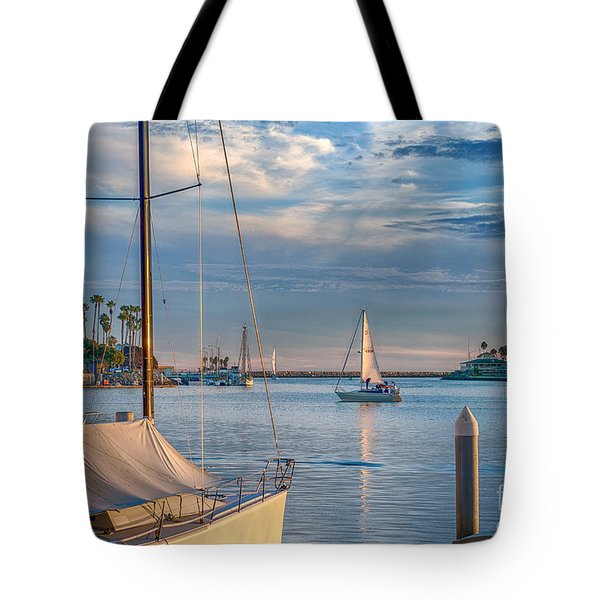 Alamitos Bay Inlet Sailboat Tote Bag