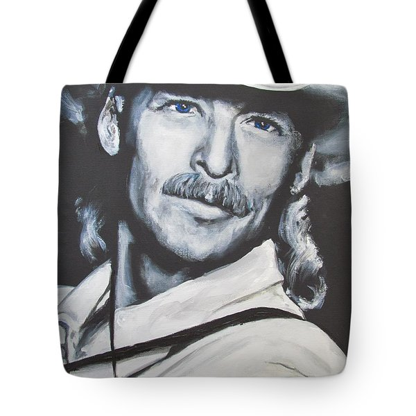 Tote Bag featuring the painting Alan Jackson - In The Real World by Eric Dee