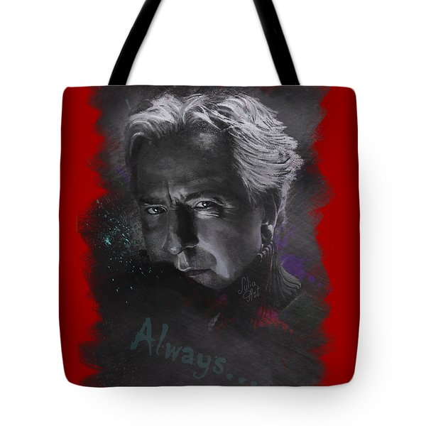 Tote Bag featuring the drawing Alan Rickman by Julia Art