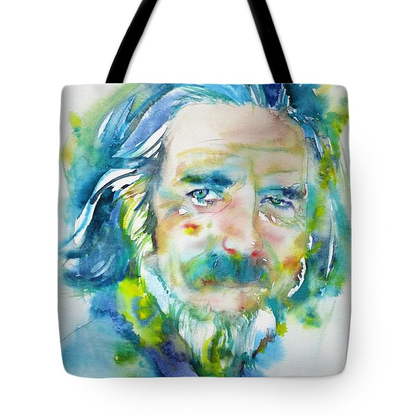Tote Bag featuring the painting Alan Watts - Watercolor Portrait.4 by Fabrizio Cassetta