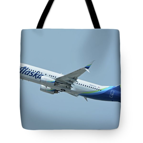 Tote Bag featuring the photograph Alaska Boeing 737-890 N563as Los Angeles International Airport May 3 2016 by Brian Lockett