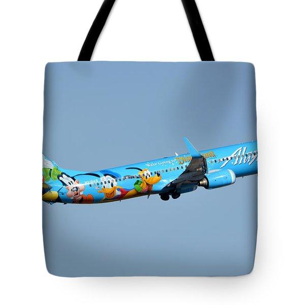 Alaska Boeing 737-990 N318as Disneyland Phoenix Sky Harbor January 19 2016 Tote Bag by Brian Lockett