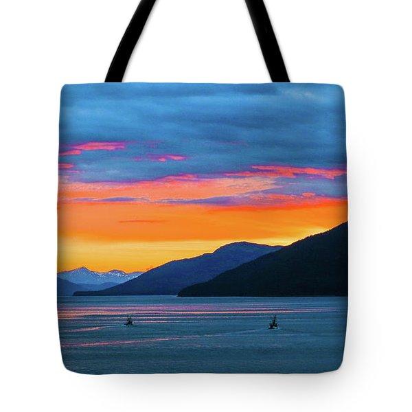 Alaska Fishermans Sunset Tote Bag