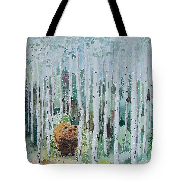 Alaska -  Grizzly In Woods Tote Bag by Christine Lathrop