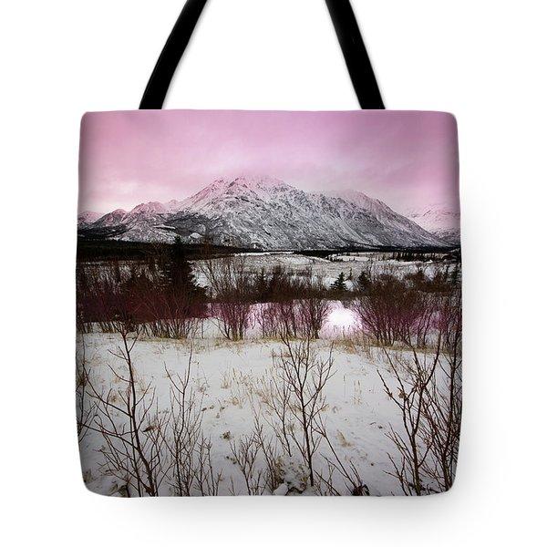 Alaska Range Pink Sky Tote Bag