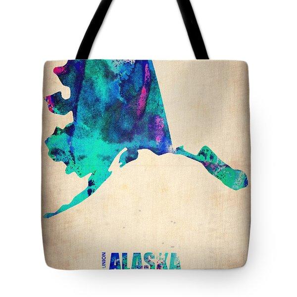 Alaska Watercolor Map Tote Bag