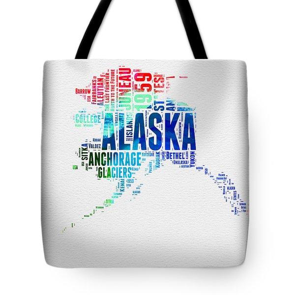 Alaska Watercolor Word Cloud  Tote Bag